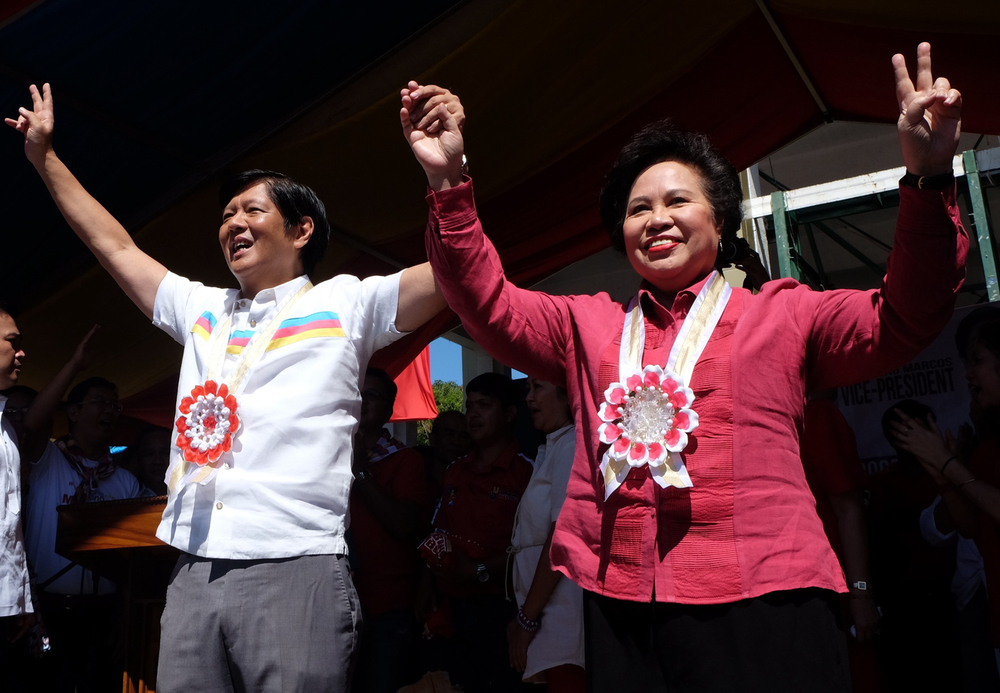 Senator Miriam Defensor-Santiago with running mate Senator Bongbong Marcos (Photo by Niño Jesus Orbeta/Inquirer.net)