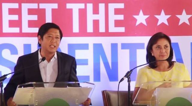 Vice presidential candidates Senator Bongbong Marcos and Congresswoman Leni Robredo (Source: Rappler.com)