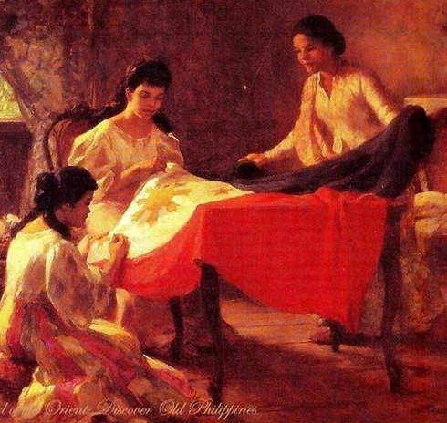The historic sewing circle when (from left, Lorenza Agoncillo, and the two adult ladies—Marcela Agoncillo and/or Delfina Herbosa-Natividad--sewed the first Philippine Flag. The two adult ladies are interchangeably identified. This painting by Fernando Amorsolo is one of several versions though.