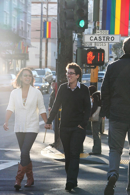 Jenni and Lisa take a stroll down Castro in San Francisco's gay district. (Photo printed with permission by Lisa Dazols)