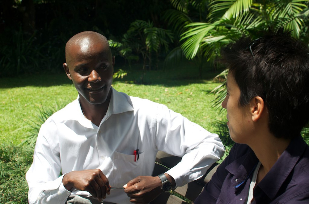 Lisa interviewing David Kuria, Kenya's first openly gay candidate for public office. (Photo printed with permission by Lisa Dazols)