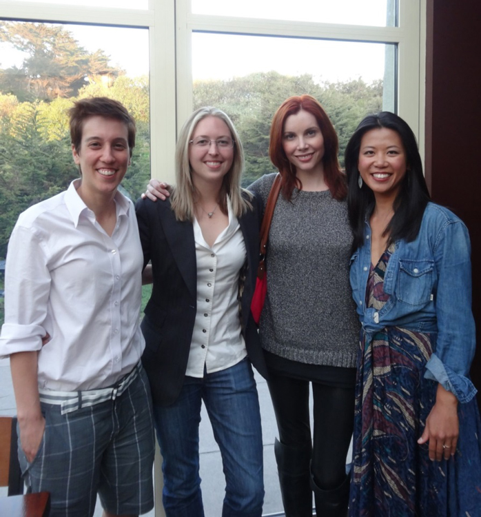 Lauren Fash and one of the film producers, Susan Graham, are flanked by Lisa and Jenni as they celebrated the completion of their film. (Photo courtesy of Lisa Dazols and Jenni Chang)