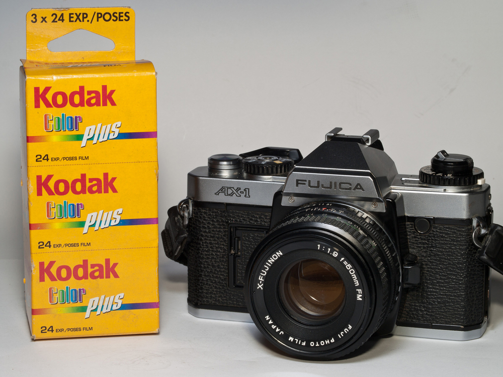 Kodak film and a Fujica camera (Source: wikipedia)