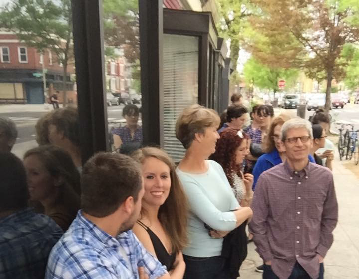 The line that snaked around the corner, all waiting to be seated. The restaurant does not accept reservations. (Photo by Wilma Consul)