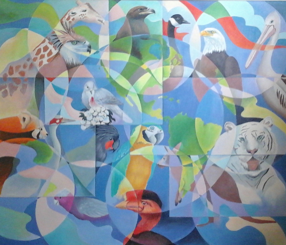 """The World Today and Tomorrow"" By Rod Pedralba, 2003, Acrylic on Canvas, 40"" x 40"""