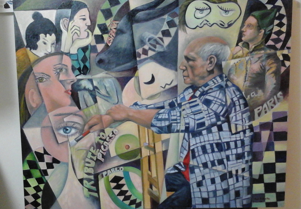 """A Tribute to Pablo Picasso"" By Rod Pedralba, 2015, Oil on Linen, 32"" x 40"""