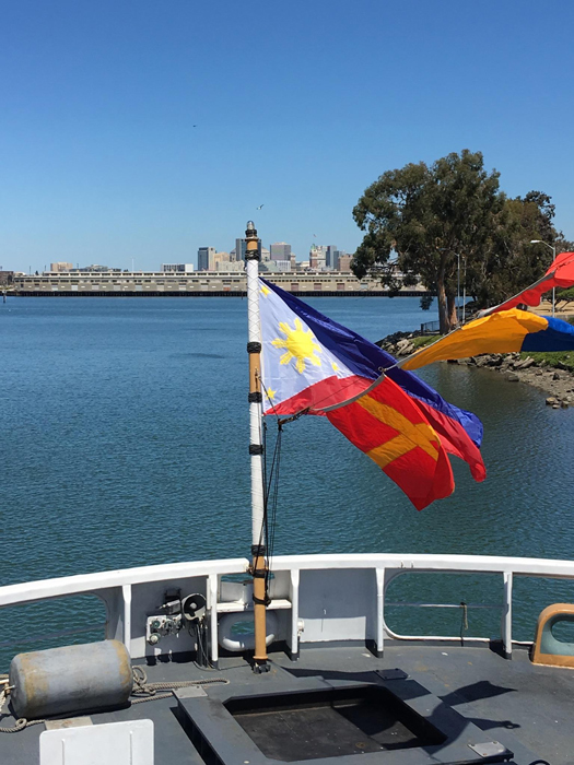 The Philippine flag now flies at the stern of BRP Andres Bonifacio in Alameda, California (Photo by Gemma Nemenzo)
