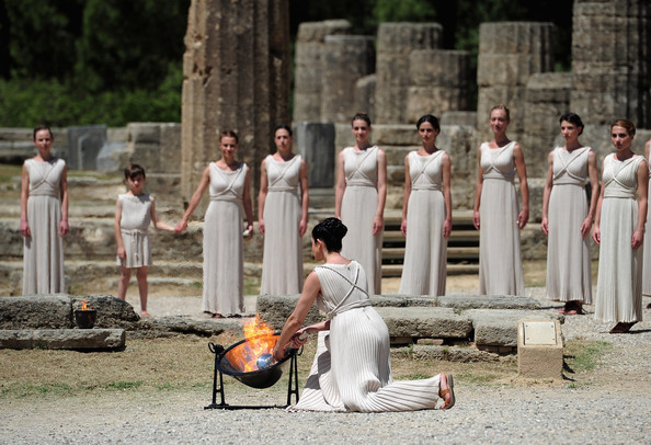 The Lighting of the sacred Olympic flame from the rays of the sun in ancient Olympia, Greece, is now held every two years—for the Summer Games during leap years (2016) and the off-even-numbered years (2014, 2018, etc.) for the Winter Games. The ceremony is veiled in the mysticism of ancient Greece. It takes place in front of the old Temple of Hera, is witnessed by at least 14 priestesses, and the core of the whole ritual is the receipt of sacred fire from the sun god himself, Phoebus Apollo. Yes, it's all very pagan – but very elegantly theatrical.
