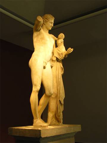The statue of Hermes, the messenger of the gods, left, is the centerpiece of the Archaeological Museum at Olympia. It is the most intact example of classical Greek sculpture, found in the ruins of Olympia. Its creator is traced to the famous sculptor of the time, Praxiteles. And no, the stump of Hermes' arm did not give rise to today's Paralympic Games, which began in England after World War II, and is altogether another separate chapter.