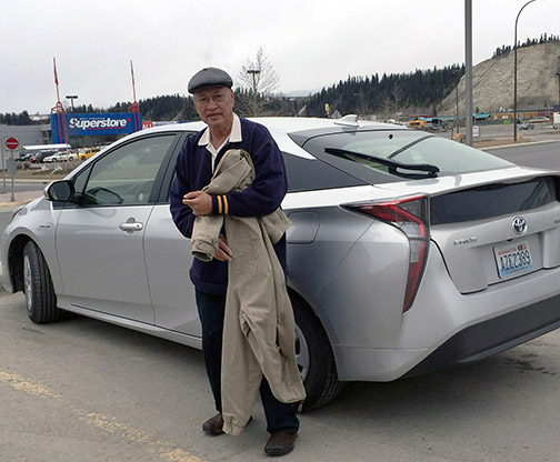 Mac Del Fierro and the Prius Hybrid - White Horse, Yukon Territories (Photo by Noni Mendoza)
