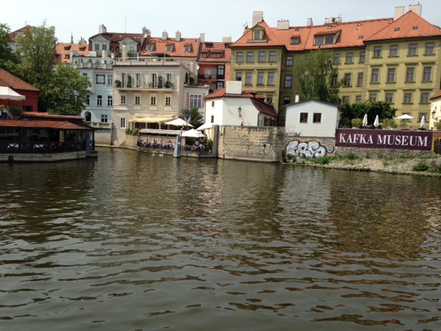 The Danube flows through 10 countries but not in the Czech Republic.  Here's how to remember this is the Vltava (aka Moldau), bank in Prague. (Photo by M. Z. Moreno)