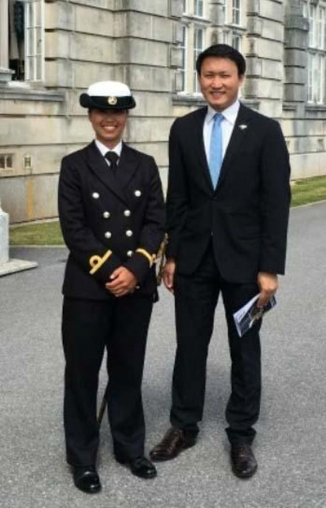 Philippine Navy Ensign Maycee Angga with Consul Rommel Romato in Dartmouth, England. (Source: GMA News)