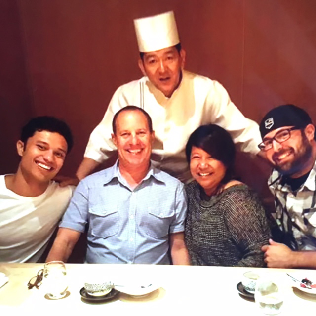 Chef Barbara Batiste, son Ryan (left), husband Gregory (second from left), and business partner Kurt Steinetz (right). With Chef Fuji at Nozawa Bar (Private Dining for Sugarfish Beverly Hills) (Photo courtesy of Chef Barbara Batiste)