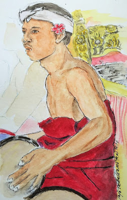 Gamelan Musician playing the drums (from the watercolor travel sketchbook of Jojo Sabalvaro Tan, February 2016)