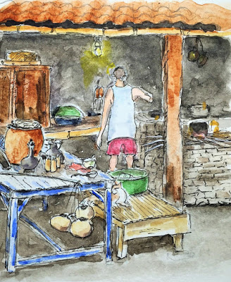 Typical Balinese Kitchen (from the watercolor travel sketchbook of Jojo Sabalvaro Tan, February 2016)