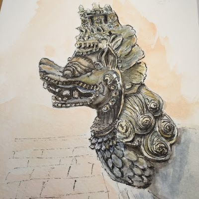 Ancient Stone Ornamentation at Batuan Temple (from the watercolor travel sketchbook of Jojo Sabalvaro Tan, February 2016)
