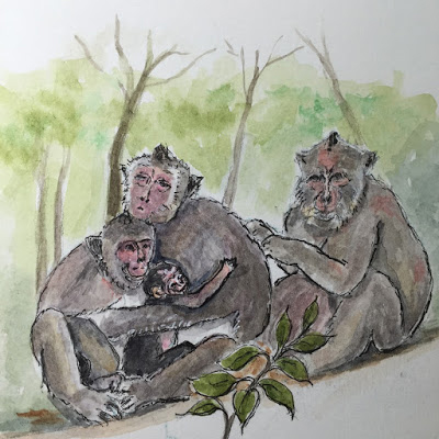 A Family of Monkeys at Ubud Monkey Forest (from the watercolor travel sketchbook of Jojo Sabalvaro Tan, February 2016)