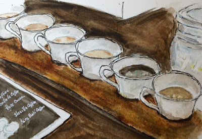 Sampling Luwak Coffee and Tea (from the watercolor travel sketchbook of Jojo Sabalvaro Tan, February 2016)