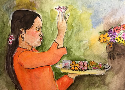 Balinese woman offering flowers at sanggah (from the watercolor sketches travel journal of Jojo Sabalvaro Tan, February 2016)