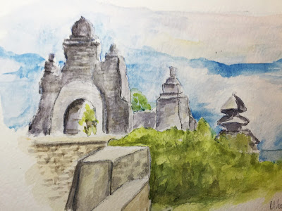 Gate and shrine at Pura Luhur Uluwatu, Badung (from the watercolor sketches travel journal of Jojo Sabalvaro Tan, February 2016)