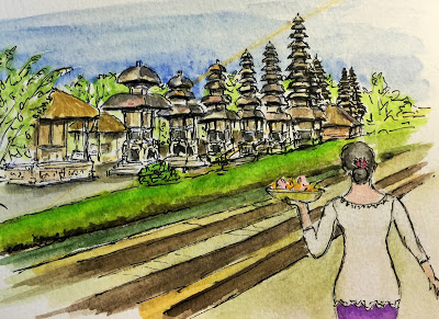 The Jaba Jero at Pura Taman Ayun, Mengwi (from the watercolor sketches travel journal of Jojo Sabalvaro Tan, February 2016)
