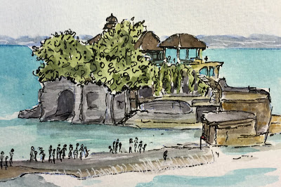 Pura Tanah Lot, Tabanan (from the watercolor sketches travel journal of Jojo Sabalvaro Tan, February 2016)