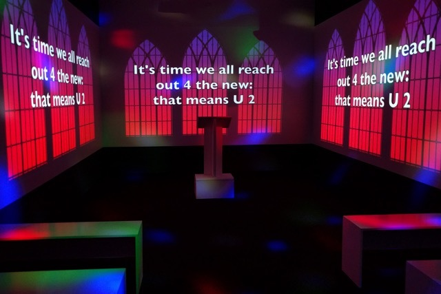 "The media room is transformed for Jennifer Wofford's popular installation: ""Dearly Beloved: A Karaoke Chapel"" (Photo: © Jenifer Wofford)"