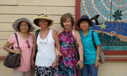 Long-time friends Imelda Montalvo, Amy Deutsch, and Rae Van Hoven came from Albuquerque and Las Vegas to give Celia (second from left) moral support. (Photo courtesy of Celia Ruiz Tomlinson)