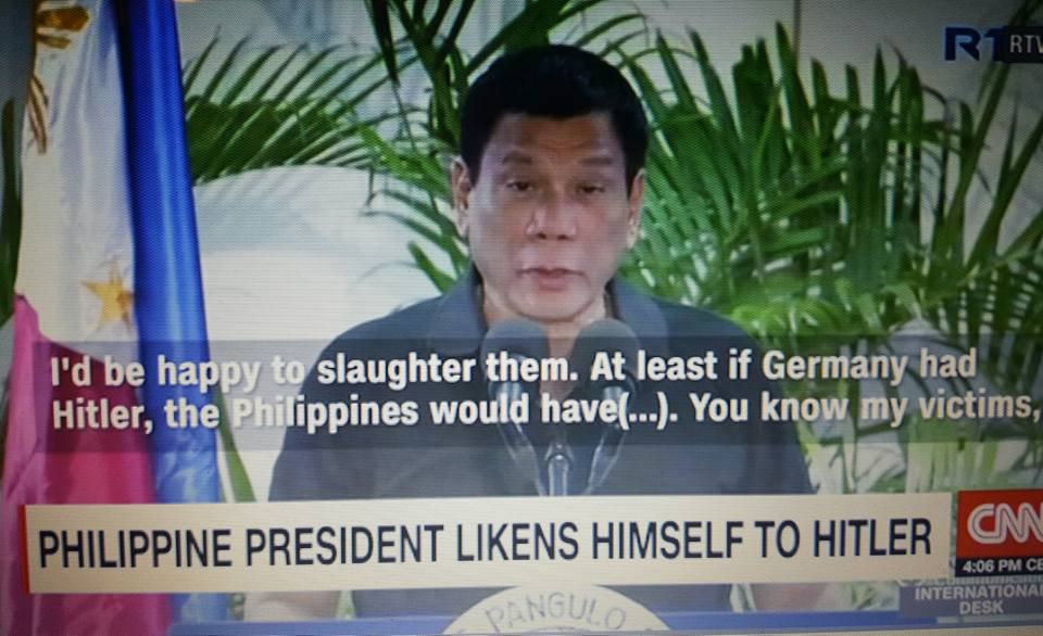 Philippine President Duterte comparing himself to Adolf Hitler did not sit well with many (Source: CNN Philippines)