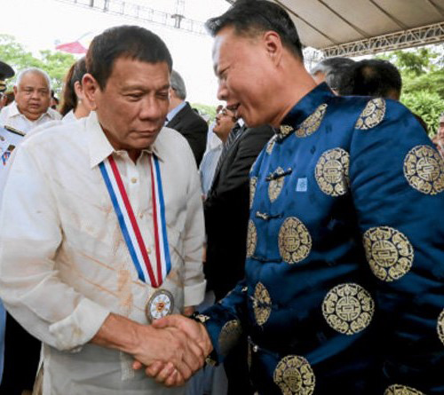 Getting cozy with China: President Duterte welcomes Ambassador to the Philippines Zhao Jianhua (Source:  Inquirer.net )