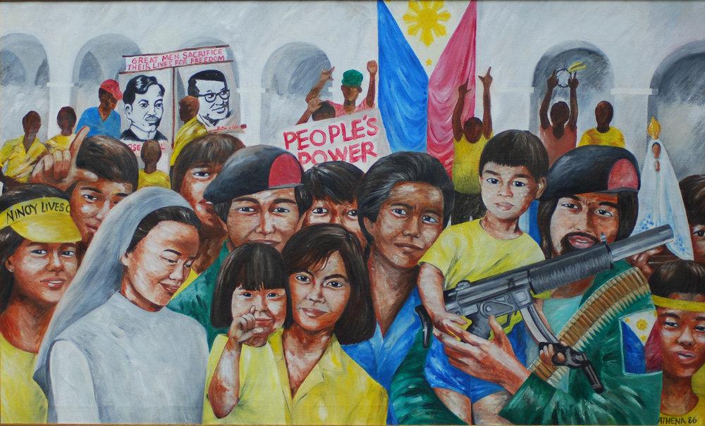 """Malakanyang sa Pagpihit ng Kwadro,1986, 30"""" x 50,"""" oil on canvas. (Photo courtesy of Athena Magcase-Lopez)"""