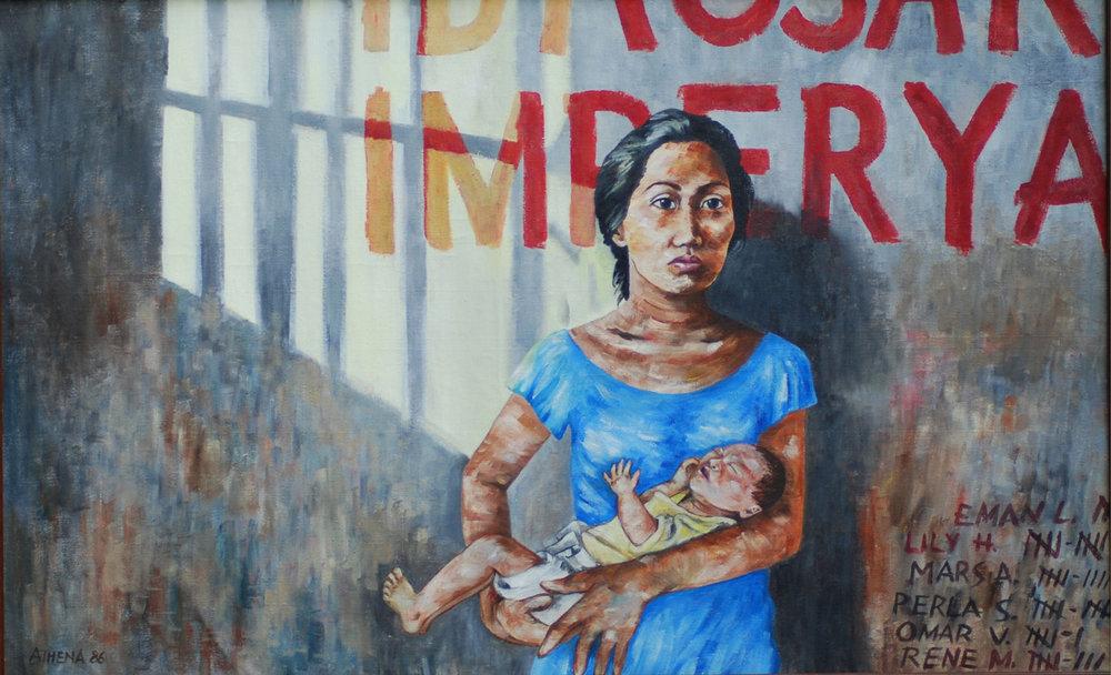 "Awit ng Isang Ina,1986, 30"" x 50,"" oil on canvas. (Photo courtesy of Athena Magcase-Lopez)"
