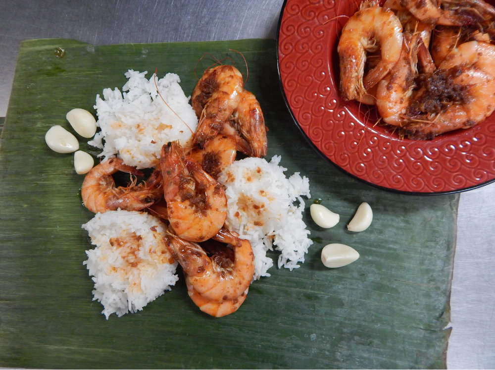 Garlic butter shrimp by Millet Bagcus of Mariegold Bake Shop & Fast Food. (Photo by Ivan Kevin Castro, styling by Joan Vande Kieft)