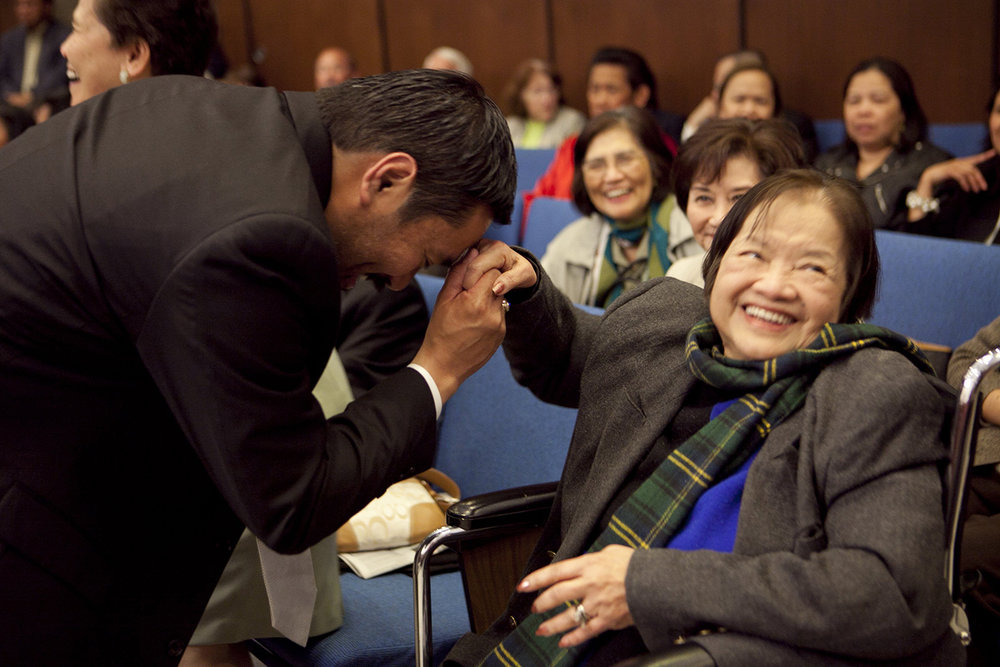 Alice Bulos gives a blessing to Daly City councilmember Ray Buenaventura (Photo courtesy of Ray Buenaventura)