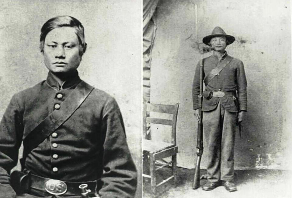 The only known photos of Felix C. Balderry, in his Union Army uniform.