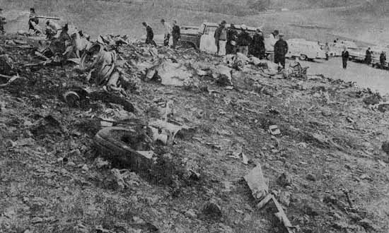 The remains of Pacific flight 773 on a hillside outside San Ramon, California the afternoon of May 7, 1964.