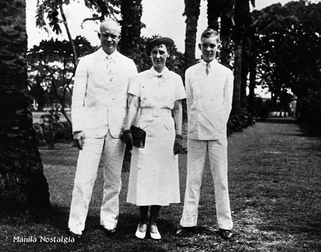 Dwight, Mamie and John Eisenhower in Manila. Aug. 1937