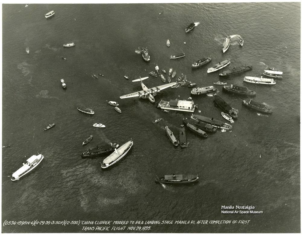 PanAm Clipper lands-Nov 1935 (Photo courtesy of NASM)