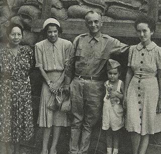 Aurora A. Quezon, Jean Faircloth MacArthur, Manuel L. Quezon, Arthur MacArthur and Maria Aurora Quezon, during a reprieve in the daily bombardment on the island fortress of Corregidor, 1942.
