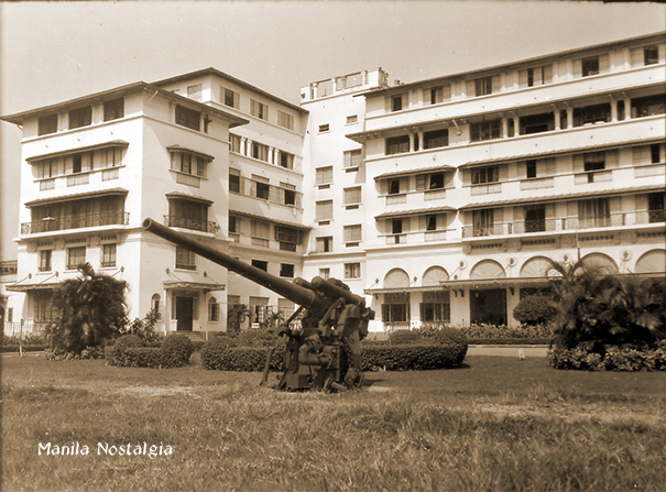 The Japanese Type 10 120mm Anti-Aircraft gun was still present in the front lawn when the photo was taken in 1947 . (Source: Cito Maramba-Manila Nostalgia)