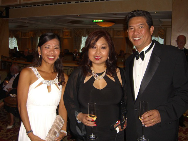Formal night aboard Cunard's Queen Victoria : Joe & Lynn Santos with Ichie Yamamoto, a Japanese Filipina from London who we met at the cruise ship. (Photo courtesy of Joe and Lynn Santos)