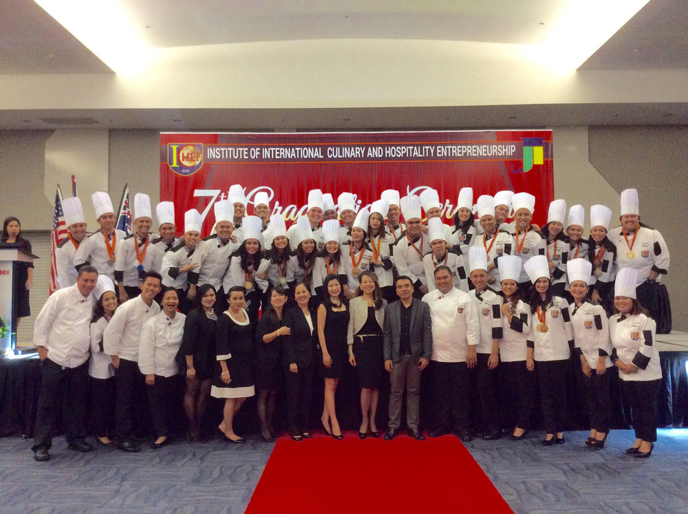 "The students of Institute of International Culinary and Hospitality Entrepreneurship (ICHEF) wore their prettiest smiles as they pose with the Chairman-Joji Ilagan Bian and the management. A brighter future awaits for them in the field of work as they have graduated in a 'truly international and truly global' International School"". (Photo courtesy of  Joji Ilagan Bian)"