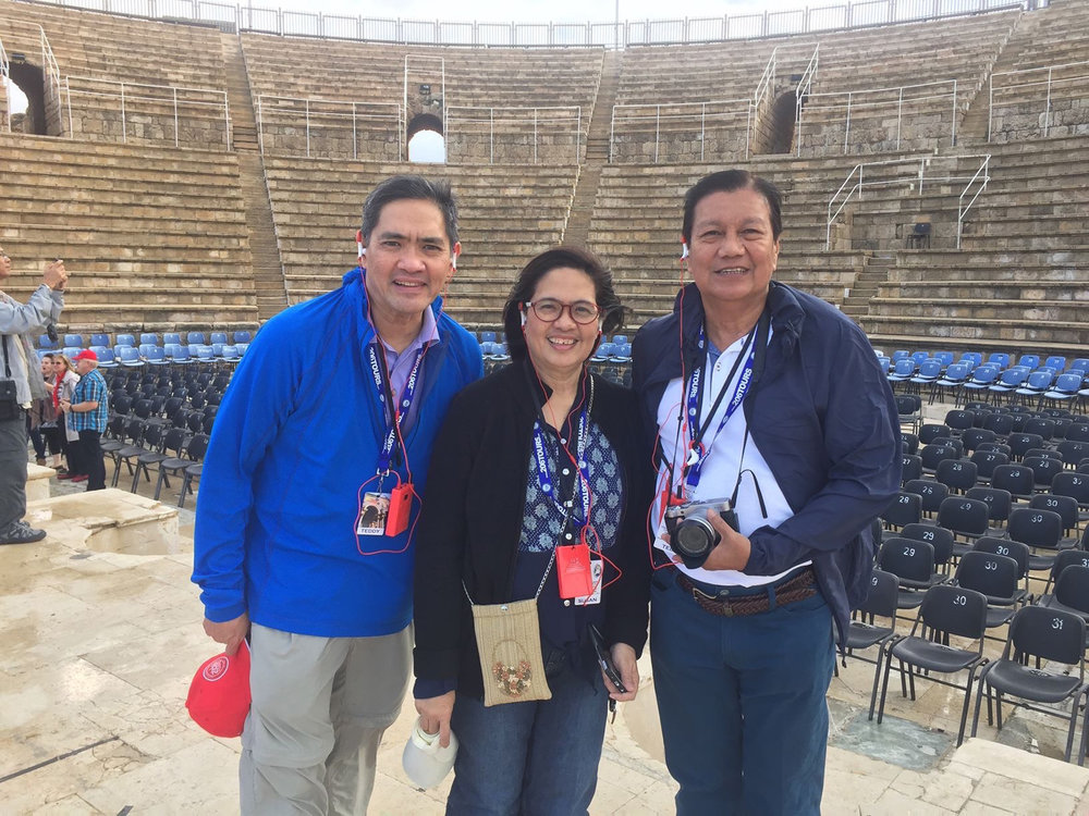 The Theater at Caesaria with Teddy Diaz de Rivera, Susan and Ted Concepcion