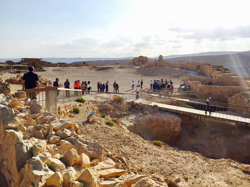 Tour group atop Masada