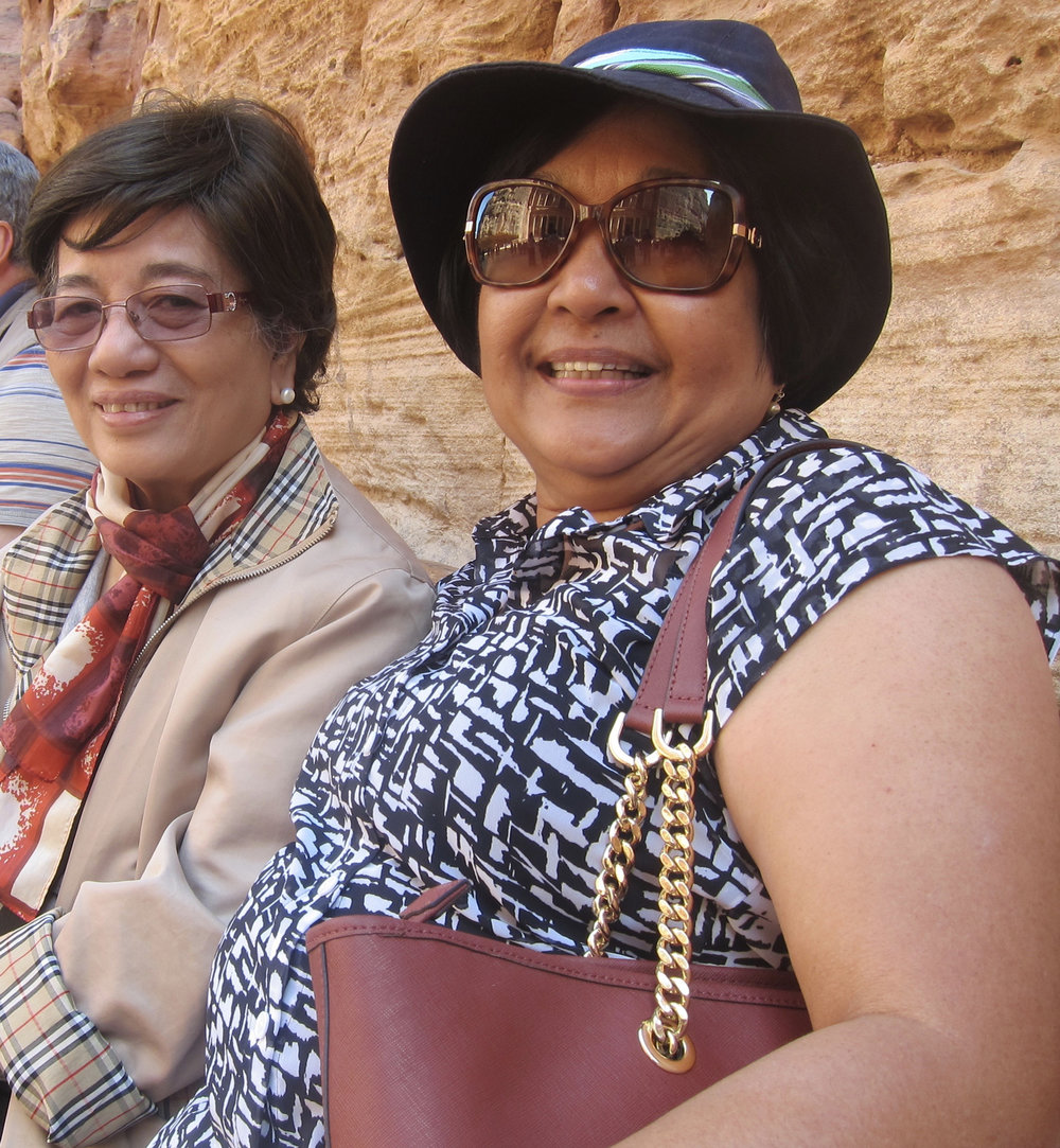 Retired nurses enjoying Petra: Delia de la Rama (left) from New York was a UP instructor who hails from La Union. Helen Pablo from Pensacola, Florida is a UST graduate from Zambales. (Photo by Mona Lisa Yuchengco)