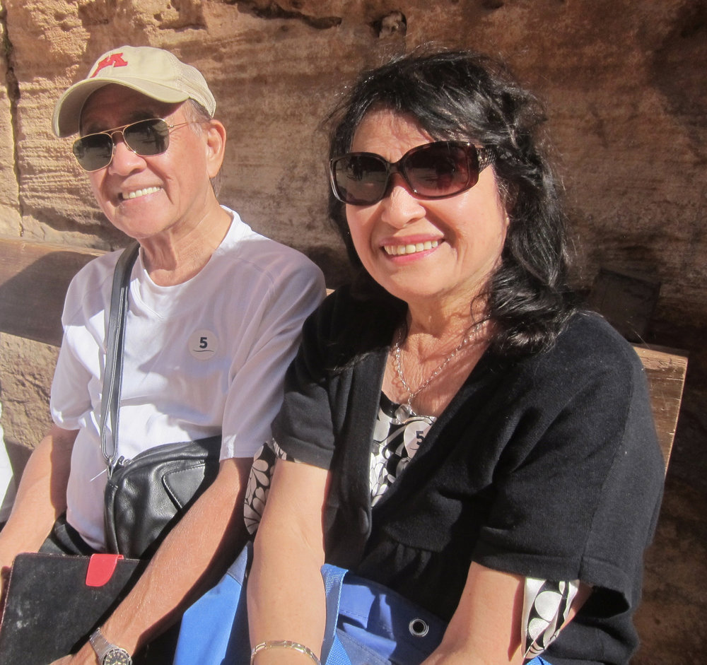 Mr. and Mrs. Art Santos in Petra. Art is a retired architect and his wife worked at the Water Department of Southern California for 30 years before moving to Las Vegas. (Photo by Mona Lisa Yuchengco)