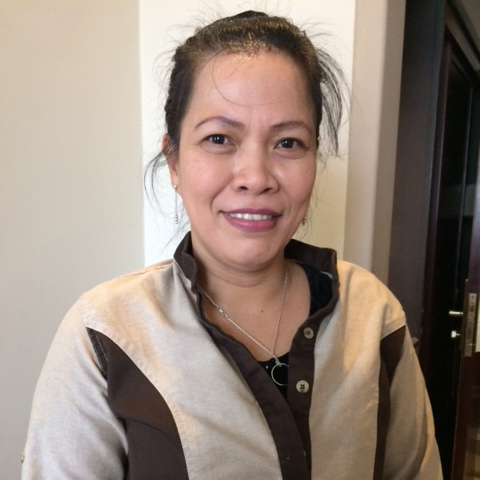 Elizabeth Fortuna Padillo works in housekeeping at the Petra Moon Hotel. She hails from Davao. She has been in Jordan since 2012. (Photo by Mona Lisa Yuchengco)