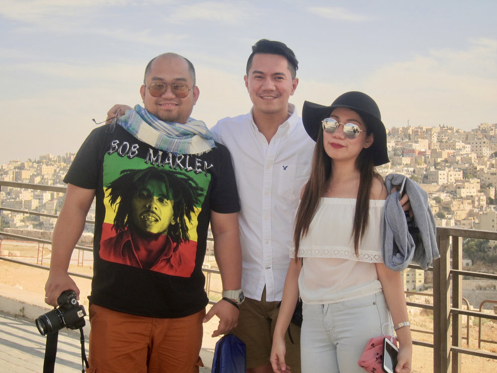 Filipinos from Dubai on vacation in Amman, Jordan (left to right): Neil Aligonza from Capiz; Dinopaulo Bulaong from Bulacan; Eleanor Franceliso from Laguna. All three work as travel consultants in Dubai. They say the Filipinos in Dubai make up the second largest foreign worker population, next to East Indians. (Photo by Mona Lisa Yuchengco)