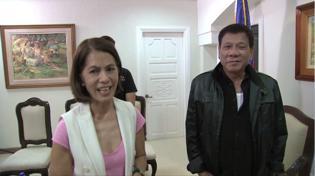 Department of Environment and Natural Resources Secretary Gina Lopez and President Rodrigo Duterte (Source: RTVM/Rappler.com)