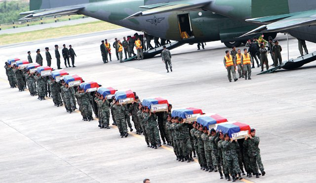 The 44 members of the Philippine National Police-Special Action Force who died while fighting the Moro Islamic Liberation Front. (Source: Politiko)